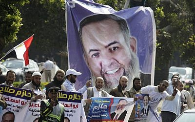 Supporters of Salafi presidential candidate Hazem Abu-Ismail in Cairo (photo credit: AP/Amr Nabil)