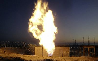 Flames rise from a natural gas pipeline explosion in el-Arish, Egypt, July 2011 (photo credit: AP/File)