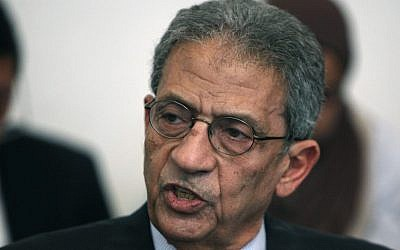 Former Egyptian presidential candidate and head of the Arab League Amr Moussa (photo credit: AP/Nasser Nasser)