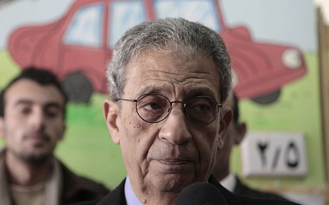Amr Moussa in January (photo credit: AP/Amr Nabil)