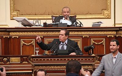 Saad el-Katatni, the speaker of Egypt's dissolved Islamist-dominated parliament (photo credit: AP)