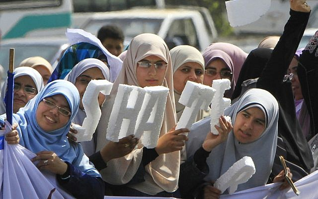 Egyptian women supporting Muslim Brotherhood presidential hopeful Khairat el-Shater, in Cairo, on Thursday (photo credit: AP/Amr Nabil)