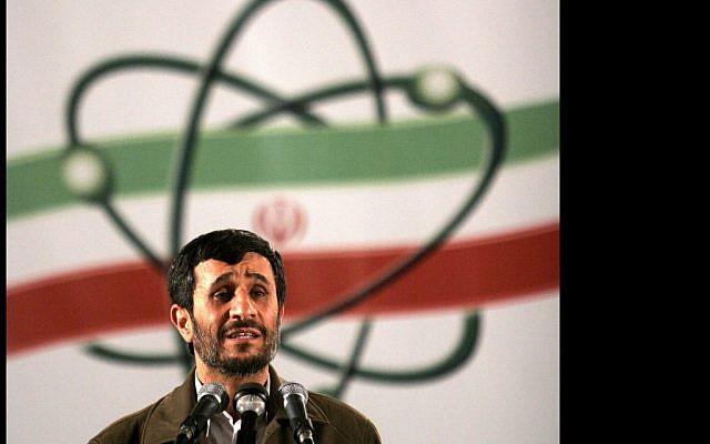 Iranian President Mahmoud Ahmadinejad speaks at Iran's nuclear enrichment facility in Natanz, April 2012 (photo credit: AP/Hasan Sarbakhshian)