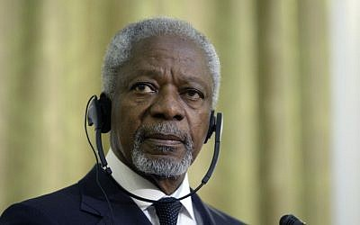 UN-Arab League envoy Kofi Annan (photo credit: AP/Vahid Salemi)