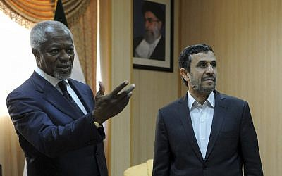 Kofi Annan meets Mahmoud Ahmadinejad in Iran Wednesday (photo credit: AP/ISNA/Hamid Foroutan)