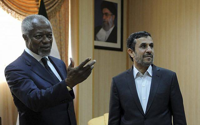 Kofi Annan meets Mahmoud Ahmadinejad in Iran Wednesday (photo credit: AP/ISNA/Hamid Foroutan)