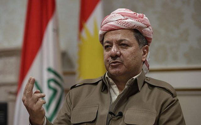 Kurdish president Massoud Barzani speaks during an interview with the Associated Press in Salah al-Din resort, north of Baghdad, Iraq, April 25, 2012. (photo credit: Khalid Mohammed/AP)