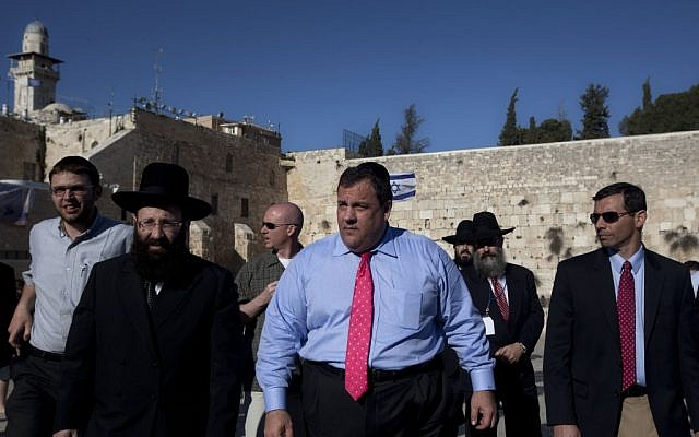 New Jersey Gov. Chris Christie (center) at the Western Wall in Jerusalem's Old City on Monday. (Sebastian Scheiner/AP))