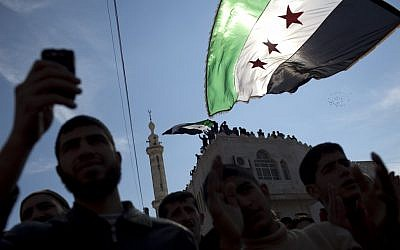 Anti-regime demonstration in northern Syria, March 2012 (photo credit: AP/Rodrigo Abd)