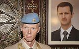 Norwegian General Robert Mood stands near a portrait of Bashar Assad in Damascus (photo credit: AP/Bassem Tellawi)