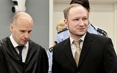 Accused Norwegian Anders Behring Breivik (right) and his defense lawyer in the courtroom on Monday (photo credit: Hakon Mosvold Larsen/AP)