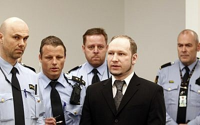 Anders Breivik is brought to court on Monday (photo credit: Lise Aserud/AP)