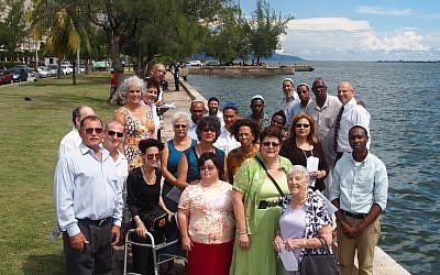 A group of congregants, converts and non, at the nearby shore. (photo credit: Courtesy)