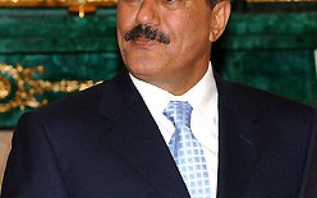 Former Yemeni president Ali Abdullah Saleh (photo credit: CC-BY-Kremlin, Presidential Press and Information Office, Wikimedia Commons)