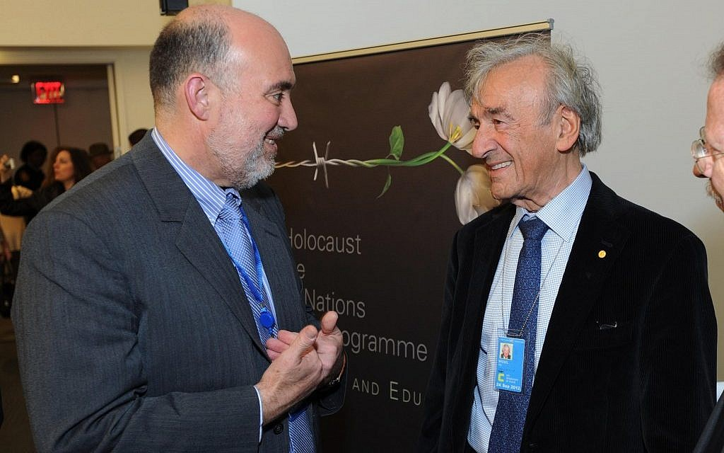 Israeli ambassador to the UN Ron Prosor with Elie Wiesel. (photo credit: Shahar Azran)