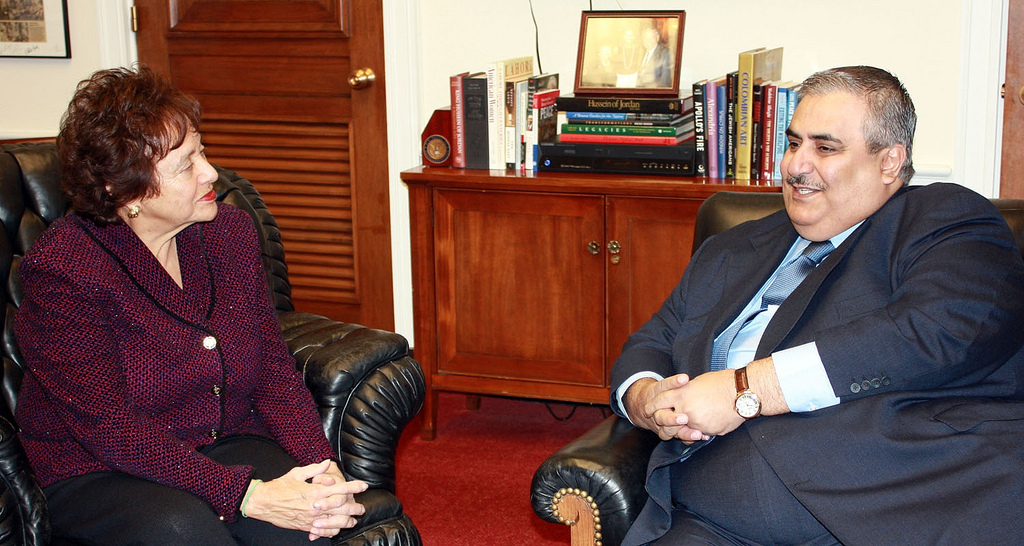 Rep. Nita Lowey, seen here meeting with Bahraini Foreign Minister Khalid bin Ahmed Al-Khalifa in Washington in February 2010, is vying for the top Democratic spot on the powerful U.S. House of Representatives Appropriations Committee. (Courtesy Bahrain Ministry of Foreign Affairs/JTA)