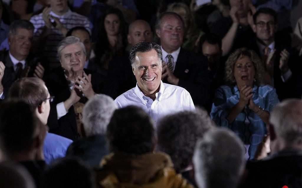 Republican presidential candidate Mitt Romney at a town hall-style meeting in April (photo credit: AP/Jae C. Hong)