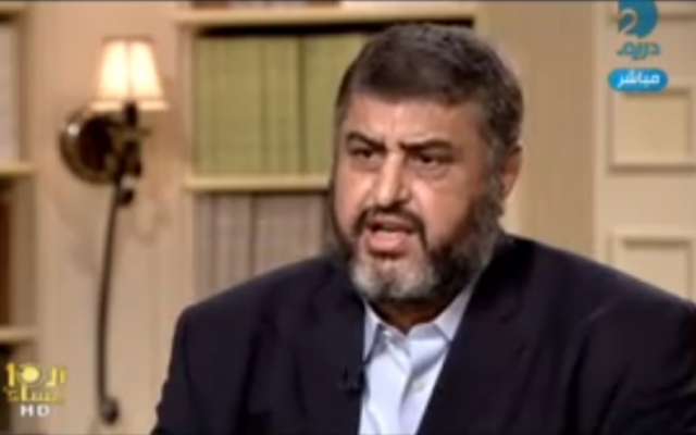 Image capture of Khairat Shater from an interview on Egyptian television.