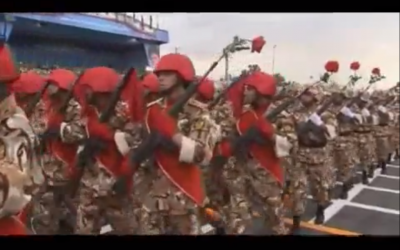 Iran's Revolutionary Guard on parade (photo credit: YouTube image capture)