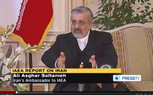Ali Asghar Soltanieh, Iran's ambassador to the International Atomic Energy Agency, speaking about Iran's refusal to allow IAEA inspectors into key nuclear sites in February (photo credit: screen capture, YouTube)