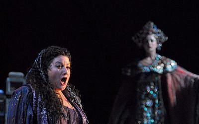 Sharon Azrieli Perez, a Canadian-born opera singer, performs 'Turandot' with the New Israel Opera in 2008. (sharonazrieli.com/JTA)