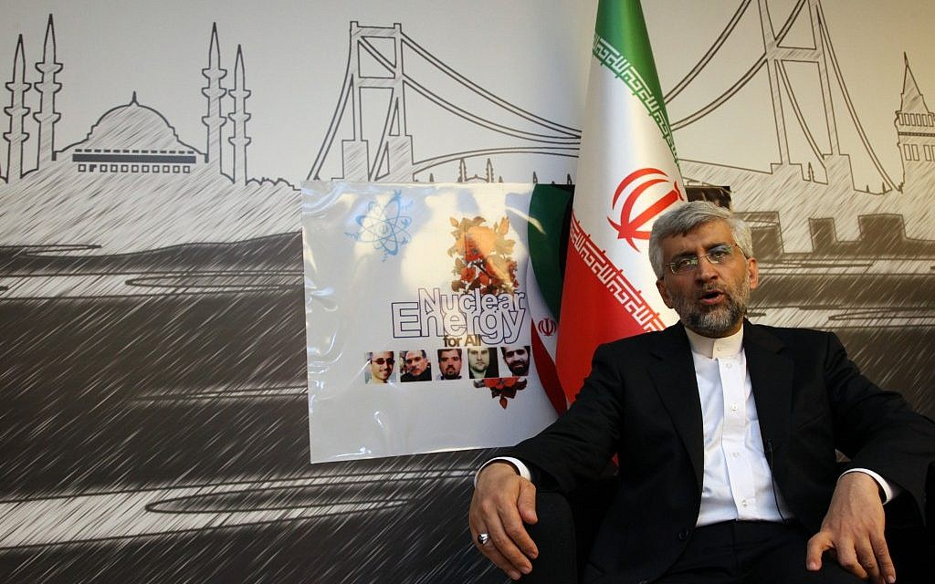 Iran's Chief Nuclear Negotiator Saeed Jalili at daylong talks with six world powers in Istanbul, on April 14, 2012. (photo credit: AP/Burhan Ozbilici)