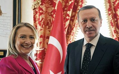 Turkey's Prime Minister Recep Tayyip Erdogan  with US Secretary of State Hillary Rodham Clinton earlier this year (photo credit: AP/Yasin Bulbul)