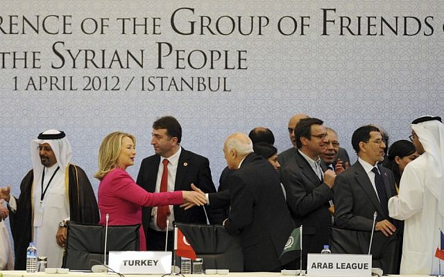 Hillary Clinton at the Friends of Syria conference in Istanbul in April. (photo credit: AP)