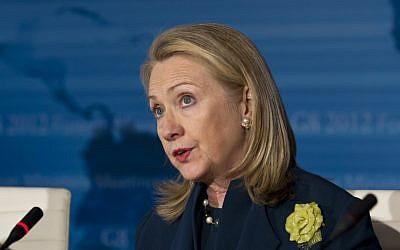 US Secretary of State Hillary Clinton (photo credit: J. Scott Applewhite/AP)