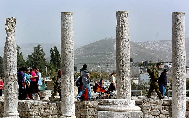 Israeli tourists at Sebastia near Nablus. (photo credit: File/Flash90)