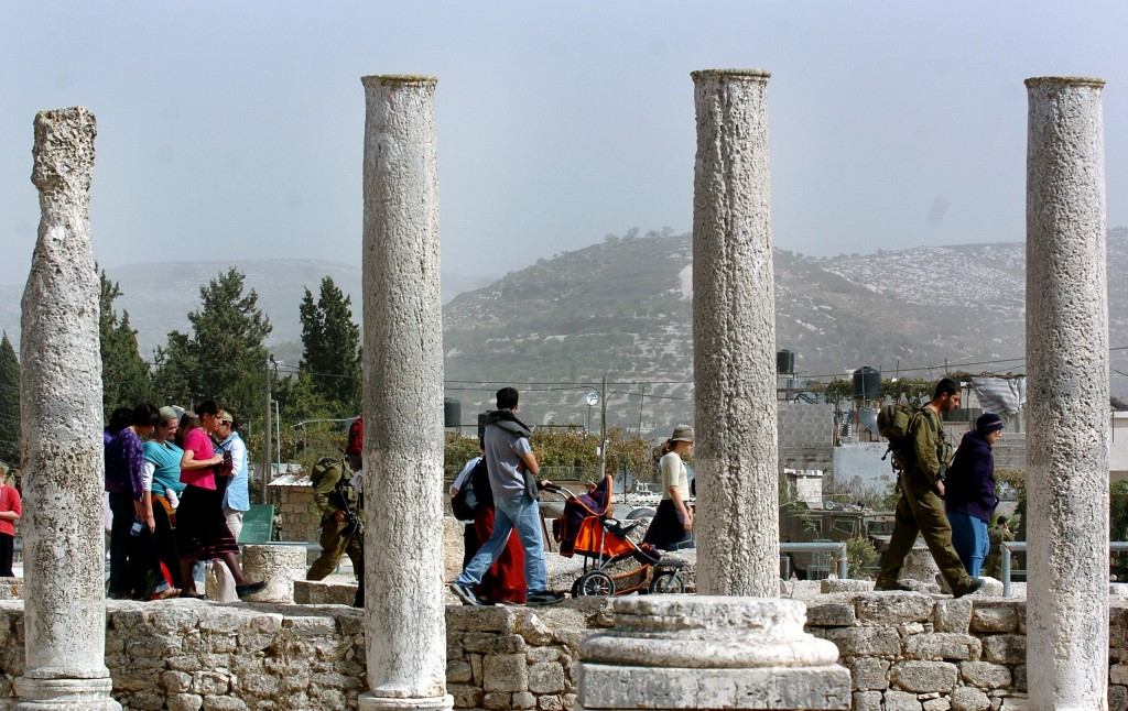Israeli tourists at Sebastia near Nablus. (photo credit: File/Flash90)