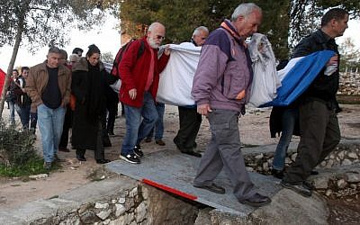 Veterans of Ammunition Hill's battle visit the site in February (photo credit: Yossi Zamir/Flash 90)