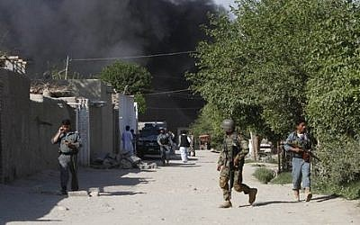 Illustrative photo of Afghan security forces in Jalalabad, east of Kabul, Afghanistan (photo credit: AP/Rahmat Gul)
