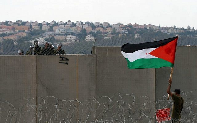 A Palestinian protester holds a flag as he stands near the security fence during a protest in Bil'in in September, 2011 (photo credit: Issam Rimawi/Flash90)