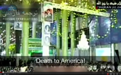 Death to America, from Iran (photo credit: screen capture, The Land of Israel Youtube video)