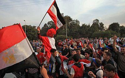 Egyptian fans celebrating in 2009. (photo credit: Wissam Nassar/Flash90)