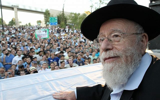 Illustrative: Rabbi Dov Lior speaks at a rally outside the Supreme Court in Jerusalem in July 2011 (photo credit: Nati Shohat/Flash90)