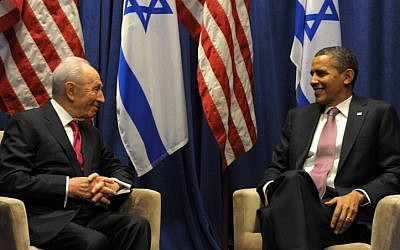 President Shimon Peres and President Barack Obama meet in Washington in April (photo credit: Moshe Milner/GPO/Flash90)