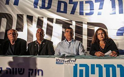 Former IDF Chief of Staff Gabi Ashkenazi at the Suckers Tent on Saturday. (photo credit: Flash 90/Noam Moskowitz)