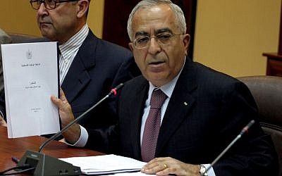 Palestinian Authority Prime Minister Salam Fayyad at a press conference in 2009 (photo credit: Issam Rimawi/Flash90)