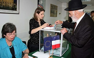 French nationals in Israel cast ballots at their consulate in Tel Aviv for the presidential elections, April 2012 (photo credit: Gideon Markowicz/Flash90)