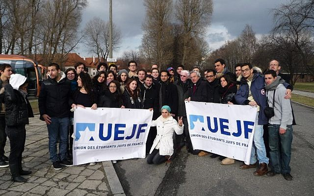 French Jewish Students and Iranian pro-democracy student activists shortly after visiting Auschwitz to push against Holocaust denial. (Courtesy: UEJF)