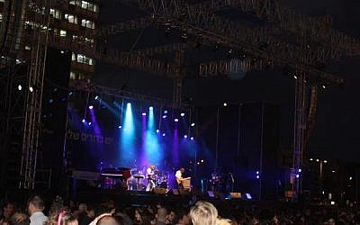 Israeli rocker Geva Alon performing at the 2010 Earth Day concert at Tel Aviv's Rabin Square (photo credit: Geva Alon, MySpace)