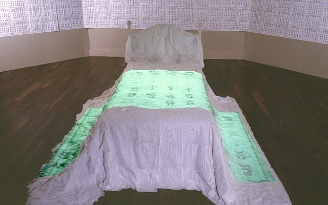 Helène Aylon, My Bridal Chamber, 2001, installation: My Marriage Bed, bed and video projection, 6 min. loop; My Clean Days, installation: bed, black marker on photocopies, paper and gauze,collection of the artist (Courtesy)