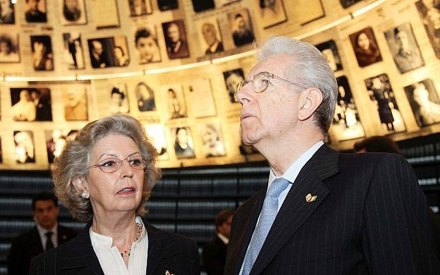 Italian Prime Minister Mario Monti and his wife Elsa visited Yad Vashem's Hall of Names earlier this year during his first trip to Israel since taking office (photo credit: Issac Harari/Flash90)
