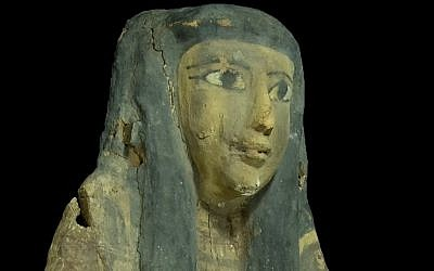 Egyptian sarcophagus detail (photo credit: courtesy Israel Antiquities Authority)