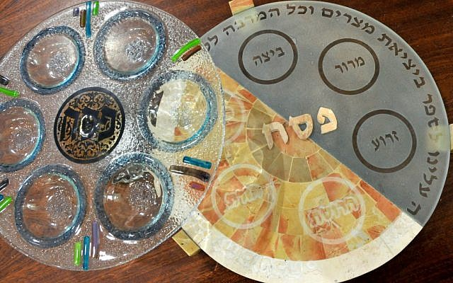 Glass and stone seder plates (photo credit: Sophie Gordon/Flash 90)