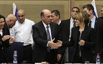 Shaul Mofaz arrives at his first Kadima meeting as the new head of the party (photo credit: by Miriam Alster/Flash90)