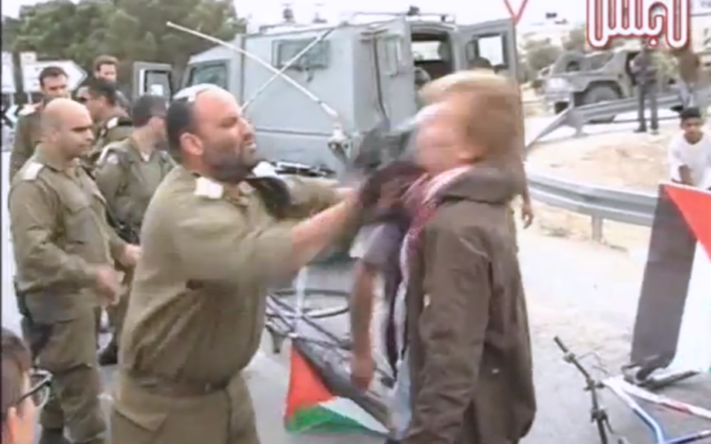 Lt.-Col. Shalom Eisner strikes a Danish protester with his rifle. (Screen capture/Youtube)