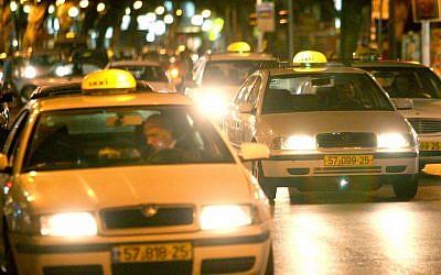 Illustrative photo, taxis at night (photo credit: Moshe Shai/Flash90)